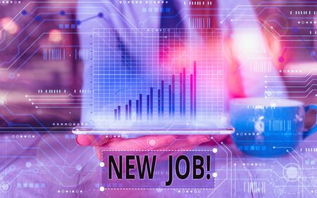 Text sign showing New Job. Business photo text recently having paid position of regular employment Stock Photo