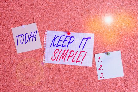 Text sign showing Keep It Simple. Business photo showcasing ask something easy understand not go into too much detail Corkboard color size paper pin thumbtack tack sheet billboard notice board