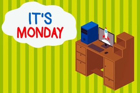 Handwriting text writing It S Monday. Conceptual photo welcoming the first day of the week with positive outlook Working desktop station drawers personal computer launching rocket clouds