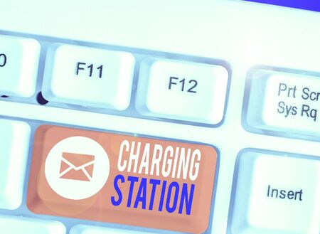 Writing note showing Charging Station. Business concept for places where showing charge their electric equipment