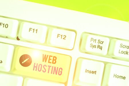 Text sign showing Web Hosting. Business photo showcasing business of providing storage space and access for websites Stock Photo
