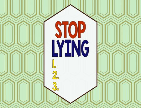 Conceptual hand writing showing Stop Lying. Concept meaning put an end on chronic behavior of compulsive or habitual lying Seamless Hexagon Tiles in Line Perspective Depth Deepness