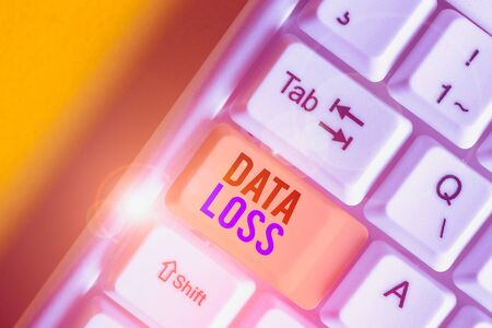 Word writing text Data Loss. Business photo showcasing process or event that results in data being corrupted and deleted White pc keyboard with empty note paper above white background key copy space