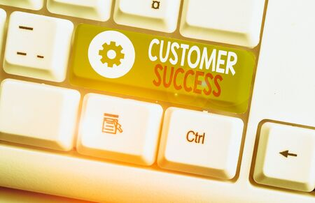 Text sign showing Customer Success. Business photo showcasing customers achieve desired outcomes while using your product