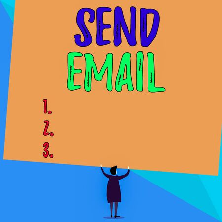 Conceptual hand writing showing Send Email. Concept meaning the system for using computers to send messages over the internet Short hair woman dress hands up holding blank rectangle