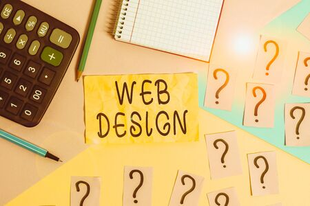Writing note showing Web Design. Business concept for Website development Designing and process of creating websites Mathematics stuff and writing equipment above pastel colours background Stock Photo