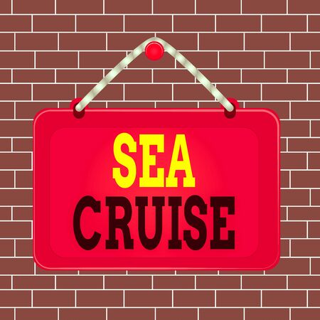Text sign showing Sea Cruise. Business photo showcasing a voyage on a ship or boat taken for pleasure or as a vacation Board fixed nail frame string striped colored background rectangle panel Stok Fotoğraf
