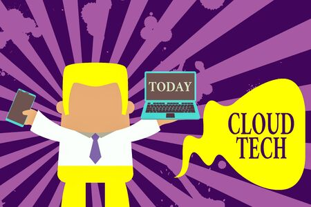 Text sign showing Cloud Tech. Business photo showcasing storing and accessing data and programs over the Internet Standing professional man tie holding left open laptop right mobile phone