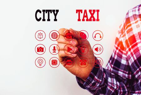 Conceptual hand writing showing City Taxi. Concept meaning type of vehicle for hire with a driver often for a nonshared ride