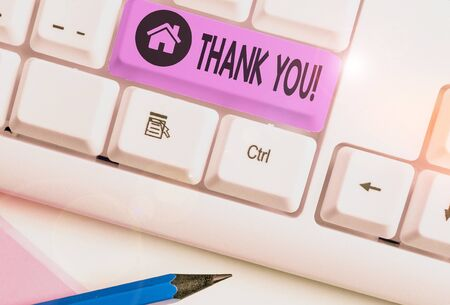 Writing note showing Thank You. Business concept for polite expression used when acknowledging gift service compliment