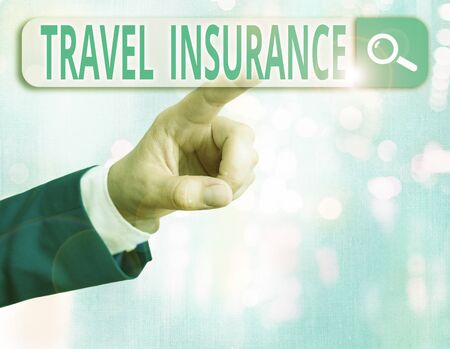 Word writing text Travel Insurance. Business photo showcasing covers the costs and losses associated with traveling 免版税图像