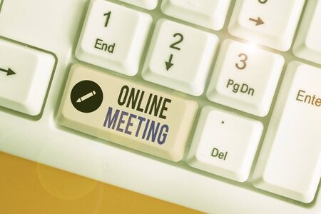 Word writing text Online Meeting. Business photo showcasing a meeting that takes place over an electronic medium