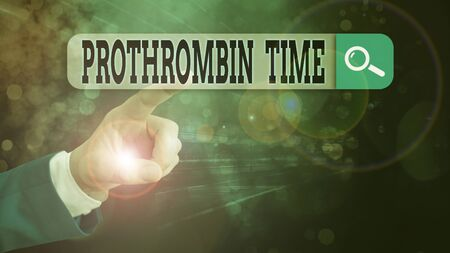 Text sign showing Prothrombin Time. Business photo showcasing evaluate your ability to appropriately form blood clots