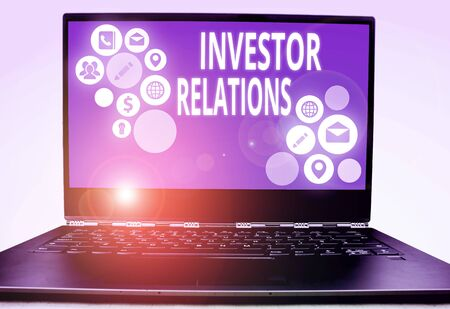 Word writing text Investor Relations. Business photo showcasing analysisagement responsibility that integrates finance Zdjęcie Seryjne