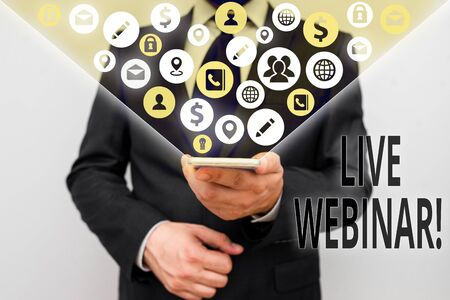 Conceptual hand writing showing Live Webinar. Concept meaning presentation lecture or seminar transmitted over Web
