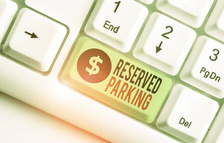 Writing note showing Reserved Parking. Business concept for parking spaces that are reserved for specific individuals