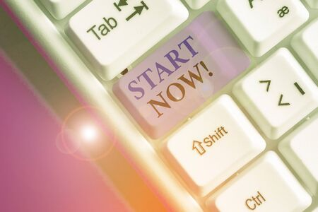 Text sign showing Start Now. Business photo text do not hesitate get working or doing stuff right away