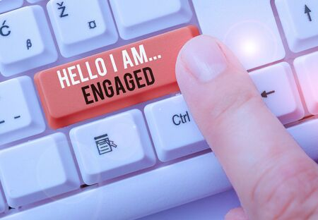 Text sign showing Hello I Am... Engaged. Business photo showcasing He gave the ring We are going to get married Wedding