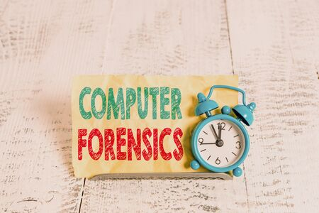 Word writing text Computer Forensics. Business photo showcasing the investigative analysis techniques on computers Mini blue alarm clock stand tilted above buffer wire in front of notepaper