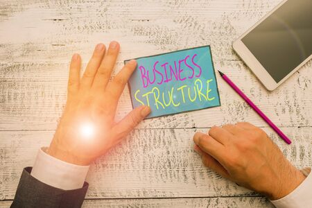 Word writing text Business Structure. Business photo showcasing Organization framework that is legally recognized Hand hold note paper near writing equipment and modern smartphone device