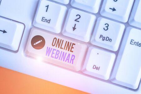 Word writing text Online Webinar. Business photo showcasing online meeting or presentation held via the Internet