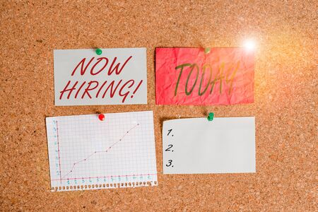 Conceptual hand writing showing Now Hiring. Concept meaning finding evaluating working relationship with future employees Corkboard size paper thumbtack sheet billboard notice board Stock Photo