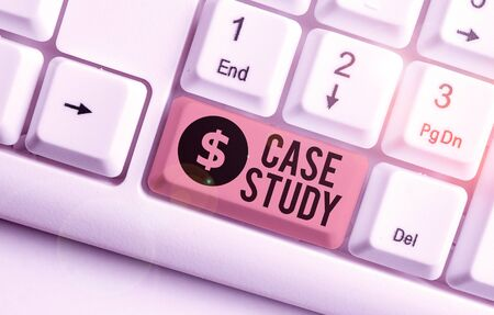 Word writing text Case Study. Business photo showcasing analysis and a specific research design for examining a problem