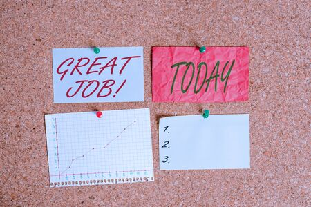 Conceptual hand writing showing Great Job. Concept meaning used praising someone for something they have done very well Corkboard size paper thumbtack sheet billboard notice board