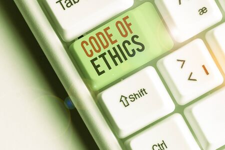 Text sign showing Code Of Ethics. Business photo showcasing basic guide for professional conduct and imposes duties