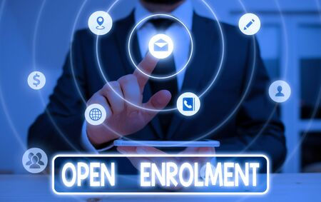 Conceptual hand writing showing Open Enrolment. Concept meaning period during which members can choose an alternate plan Stock Photo