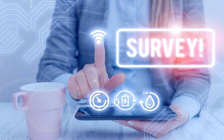 Text sign showing Survey. Business photo text research method used for collecting data from a predefined group Stock Photo