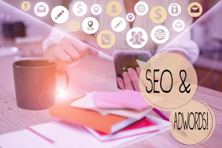 Handwriting text writing Seo And Adwords. Conceptual photo they are main tools components of Search Engine Marketing