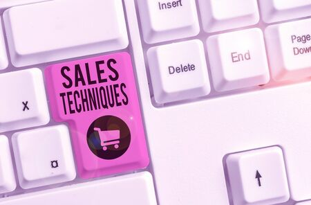 Word writing text Sales Techniques. Business photo showcasing methods that sales professionals use to create revenue