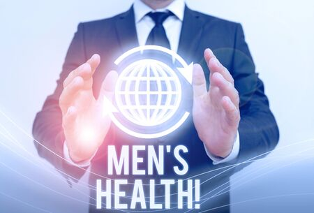 Writing note showing Men S Health. Business concept for state of complete physical mental and social well being by analysis