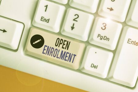 Word writing text Open Enrolment. Business photo showcasing period during which members can choose an alternate plan