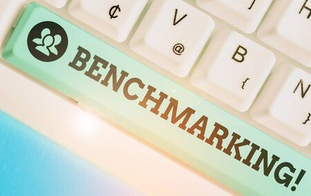 Text sign showing Benchmarking. Business photo text evaluate something by comparison with standard or scores Stock Photo