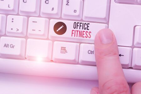 Writing note showing Office Fitness. Business concept for Encouraging fitness and balance lifestyle in the workplace