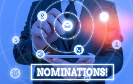 Writing note showing Nominations. Business concept for action of nominating or state being nominated for prize