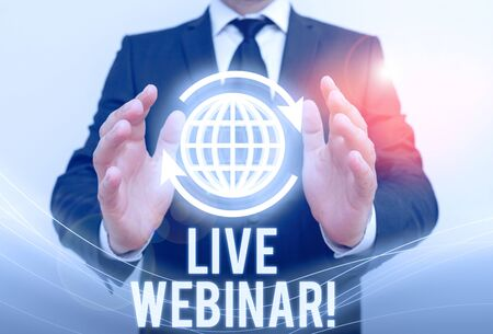 Writing note showing Live Webinar. Business concept for presentation lecture or seminar transmitted over Web