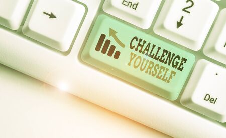 Writing note showing Challenge Yourself. Business concept for opportunity to be part of something bigger than ourselves