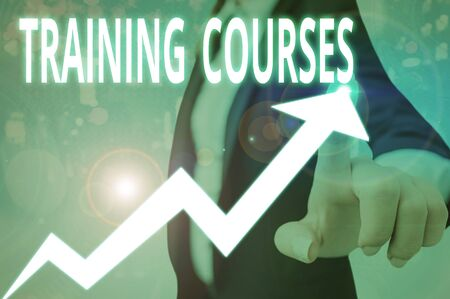 Conceptual hand writing showing Training Courses. Concept meaning lessons to teach the skills and knowledge for a job
