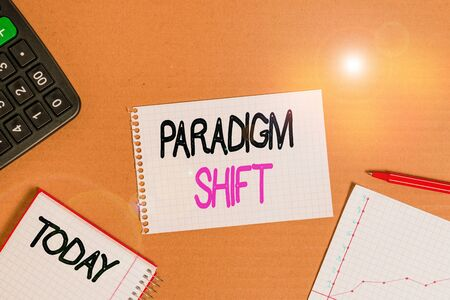 Conceptual hand writing showing Paradigm Shift. Concept meaning fundamental change in approach or underlying assumptions Cardboard notebook office study supplies chart paper Stock Photo