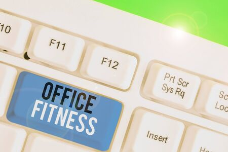 Text sign showing Office Fitness. Business photo showcasing Encouraging fitness and balance lifestyle in the workplace