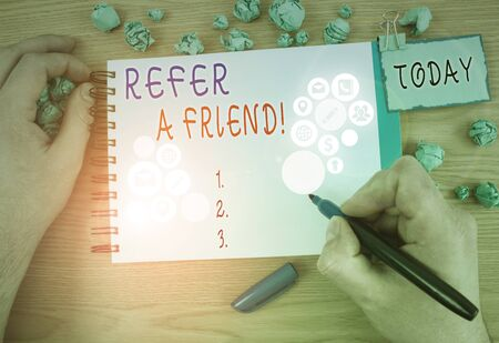 Text sign showing Refer A Friend. Business photo showcasing direct someone to another or send him something like gift