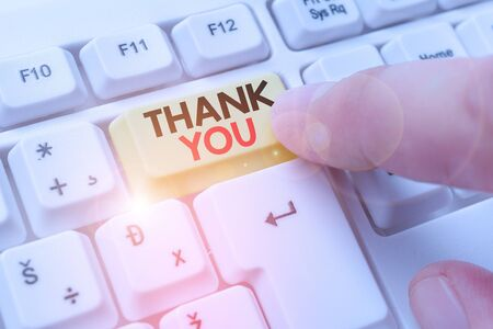 Conceptual hand writing showing Thank You. Concept meaning polite expression used when acknowledging gift service compliment