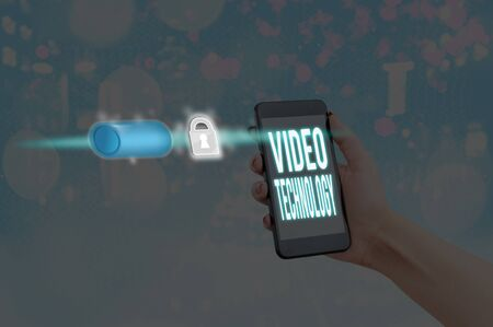 Word writing text Video Technology. Business photo showcasing recording and playing back of moving pictures and sound