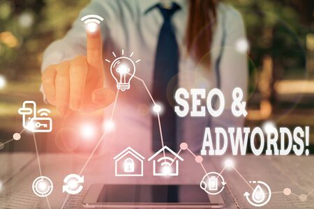 Word writing text Seo And Adwords. Business photo showcasing they are main tools components of Search Engine Marketing
