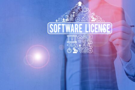 Word writing text Software License. Business photo showcasing legal instrument governing the redistribution of software