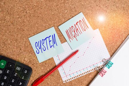 Writing note showing System Migration. Business concept for moving from the use of one operating environment to another Desk notebook paper office paperboard study supplies chart