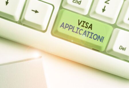 Text sign showing Visa Application. Business photo showcasing Form to ask permission travel or live in another country